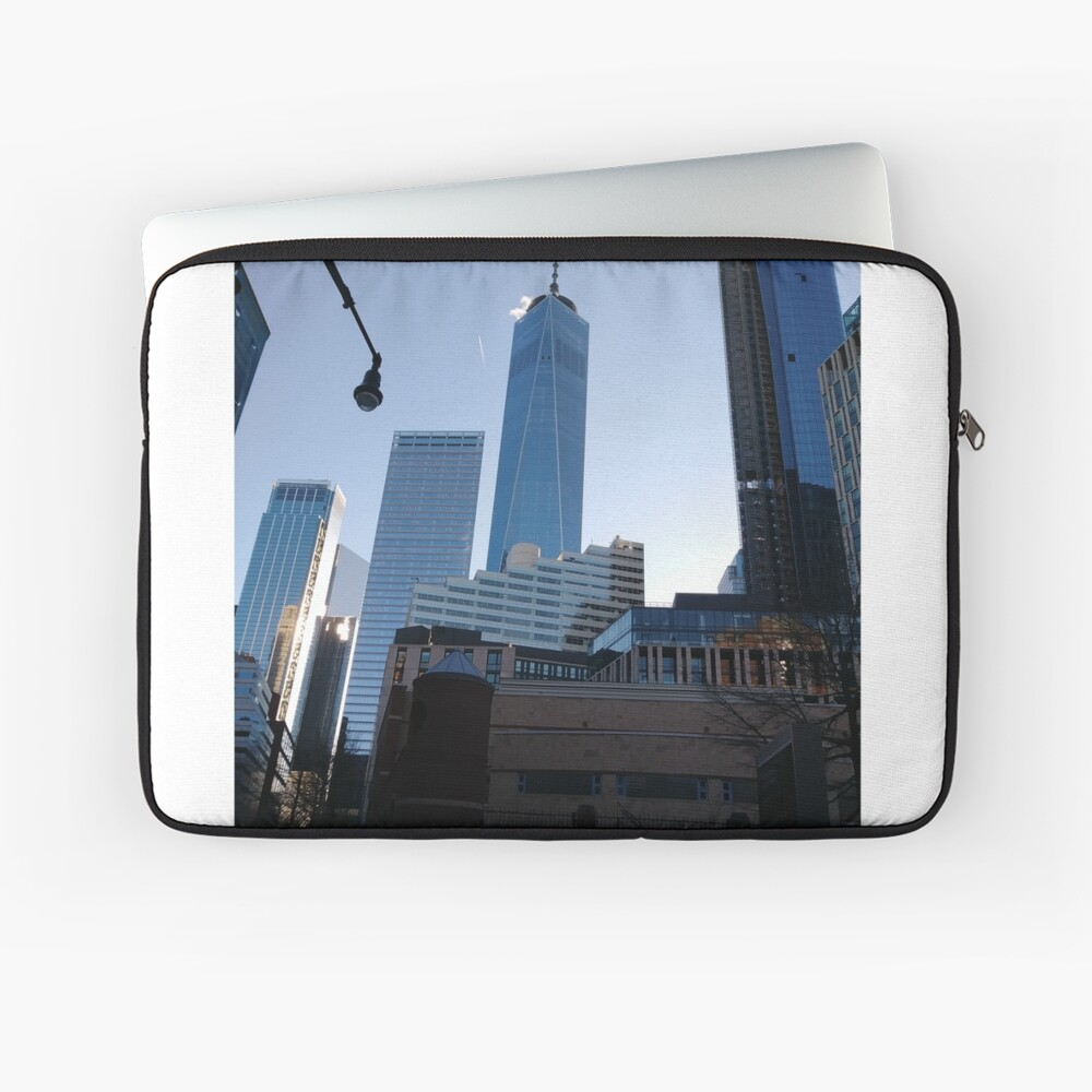 Manhattan, New York, city, Jersey City, view, buildings, water, shore, sky, ✈, plane, skyscrapers Laptop Sleeve