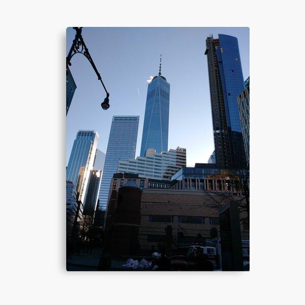 Manhattan, New York, city, Jersey City, view, buildings, water, shore, sky, ✈, plane, skyscrapers Canvas Print