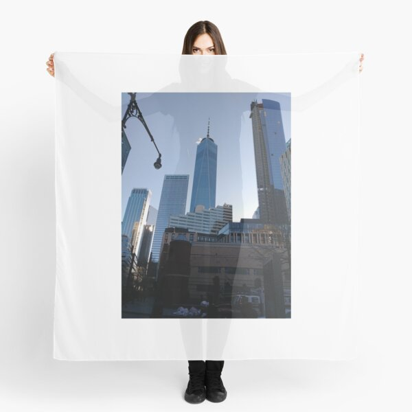 Manhattan, New York, city, Jersey City, view, buildings, water, shore, sky, ✈, plane, skyscrapers Scarf