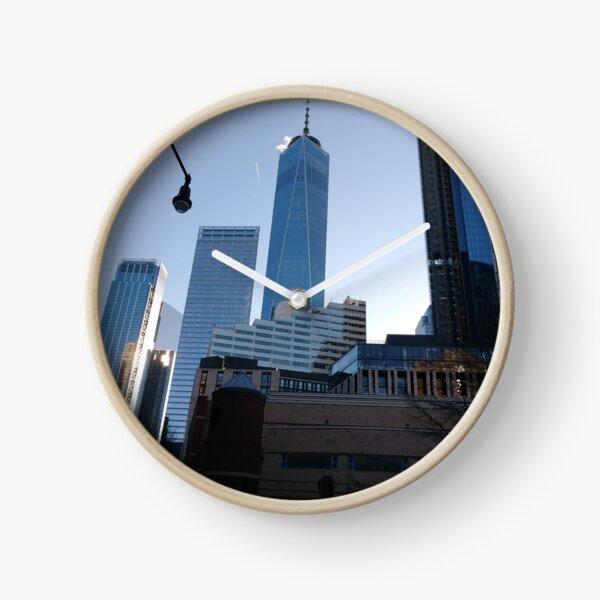 Manhattan, New York, city, Jersey City, view, buildings, water, shore, sky, ✈, plane, skyscrapers Clock