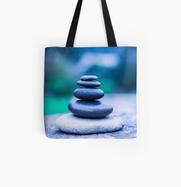 Zen stones blue All Over Print Tote Bag