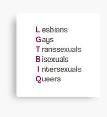 LGTBIQ, lesbians, gays, transsexuals, bisexuals, intersexuals, queers Lienzo metálico