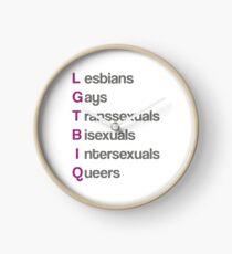 LGTBIQ, lesbians, gays, transsexuals, bisexuals, intersexuals, queers Reloj