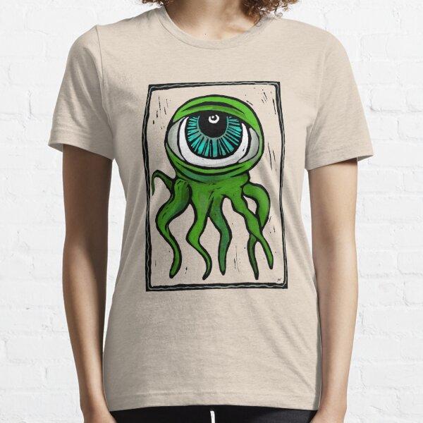 Grünes Holzschnitt-Augapfel-Kraken-Monster Essential T-Shirt