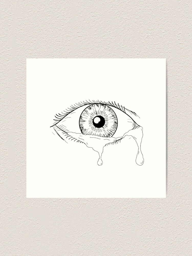 "Human Eye Crying Tears Flowing Drawing"" Art Print by patrimonio ..."