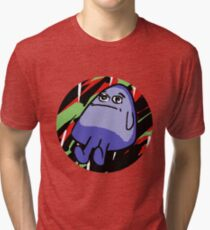 Grimace with Green and Red Background Tri-blend T-Shirt