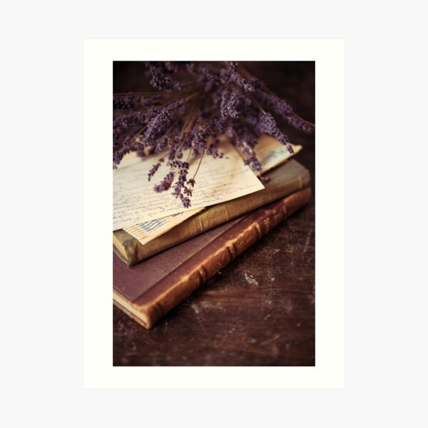Still life with old books and lavenda Art Print
