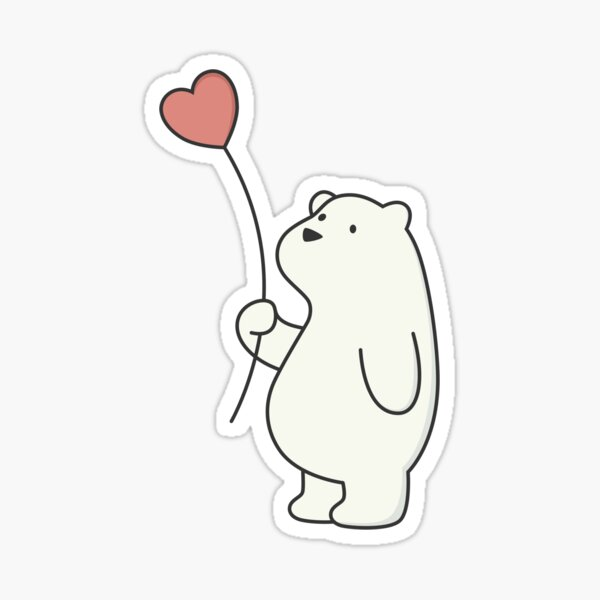 Kawaii Cute Polar Bear With Heart  Sticker
