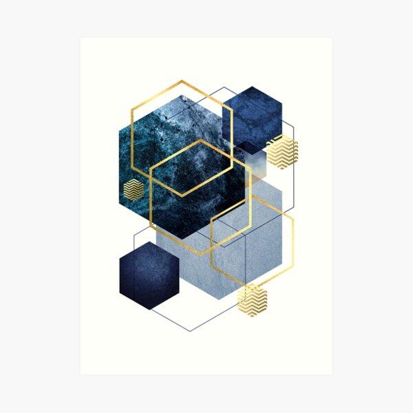 Marine und Gold Geo Kunstdruck