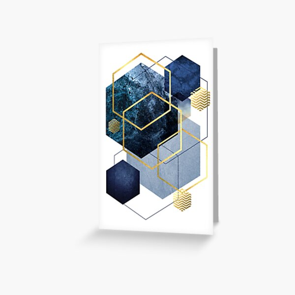 Navy and Gold Geo Greeting Card