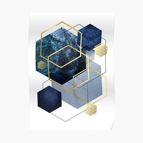 Navy and Gold Geo Poster