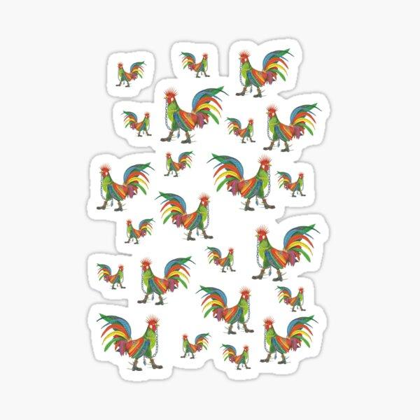 Punky Rooster Pattern Sticker