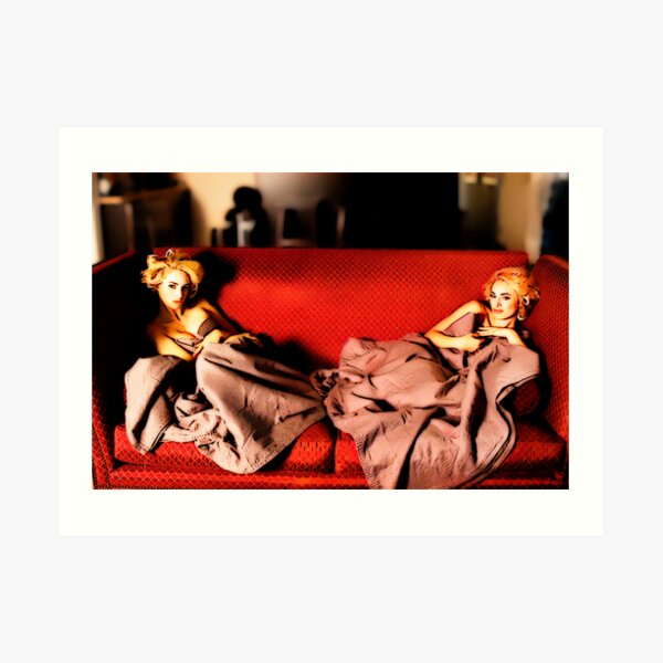 Twins on The Couch Art Print