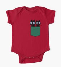 CUTE BLACK CATS IN GREEN POCKET One Piece - Short Sleeve