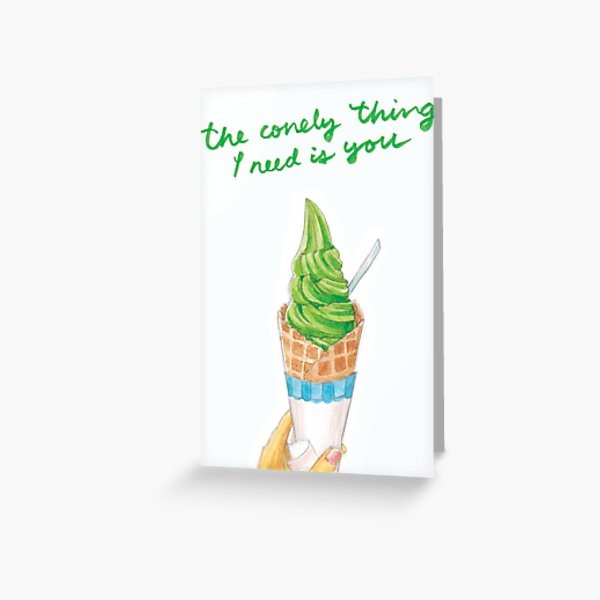 My Sweet, Punny Valentine: Green Tea Ice Cream Greeting Card