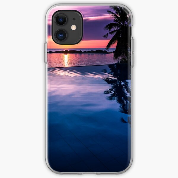 Tropical sunset pool iPhone Soft Case