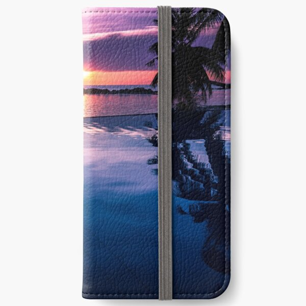 Tropical sunset pool iPhone Wallet