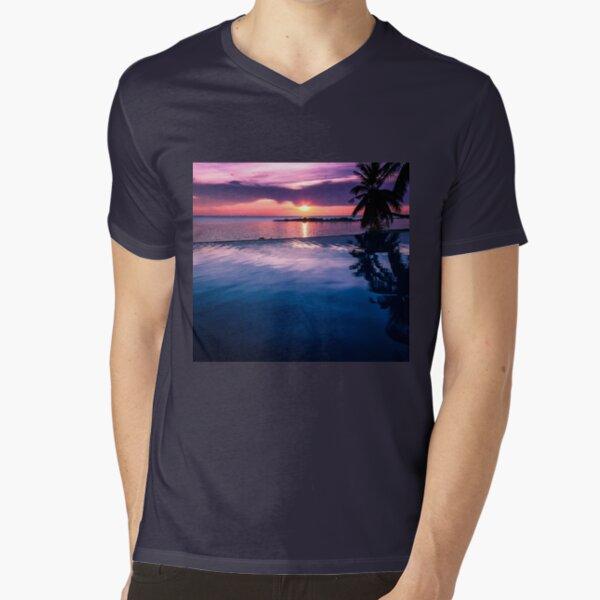 Tropical sunset pool V-Neck T-Shirt