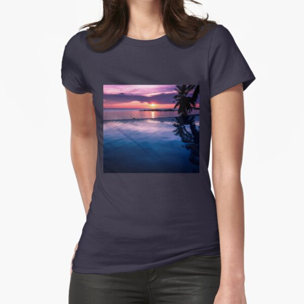 Tropical sunset pool Fitted T-Shirt