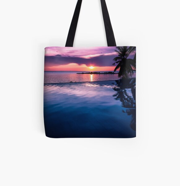 Tropical sunset pool All Over Print Tote Bag