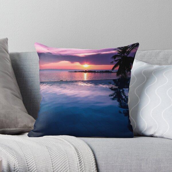 Tropical sunset pool Throw Pillow