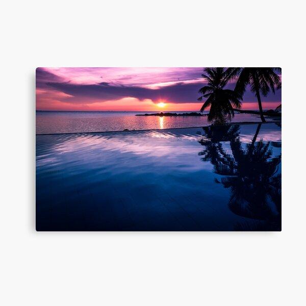 Tropical sunset pool Canvas Print