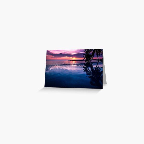 Tropical sunset pool Greeting Card