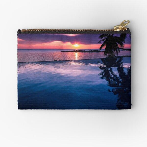 Tropical sunset pool Zipper Pouch