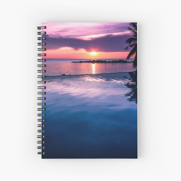 Tropical sunset pool Spiral Notebook