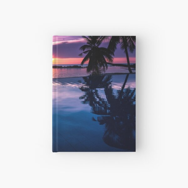 Tropical sunset pool Hardcover Journal