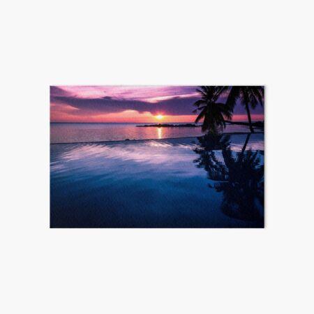 Tropical sunset pool Art Board Print