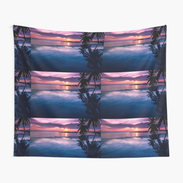 Tropical sunset pool Tapestry