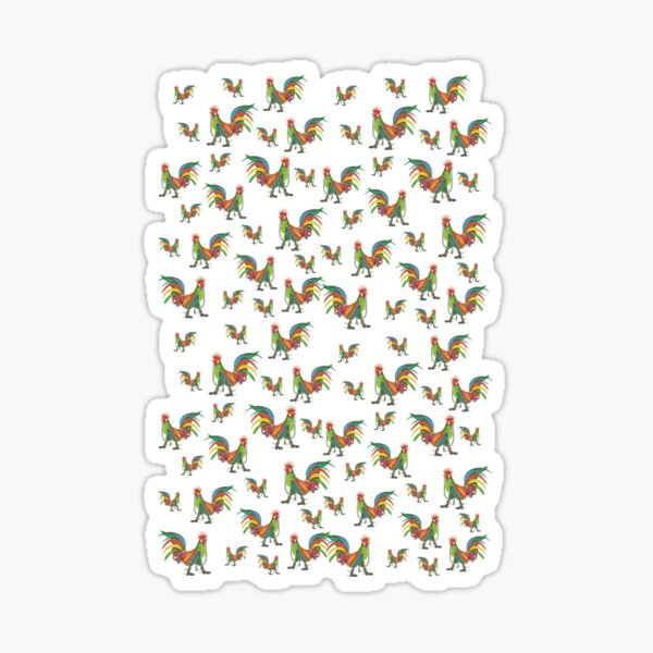 Punky Rooster Pattern Small Sticker