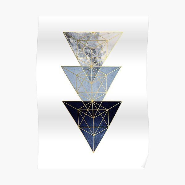 Navy and Gold Geometric Poster