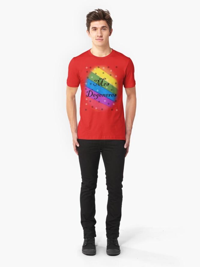 Alternate view of Mrs Degeneres - Lesbian Rainbow T-Shirt Slim Fit T-Shirt
