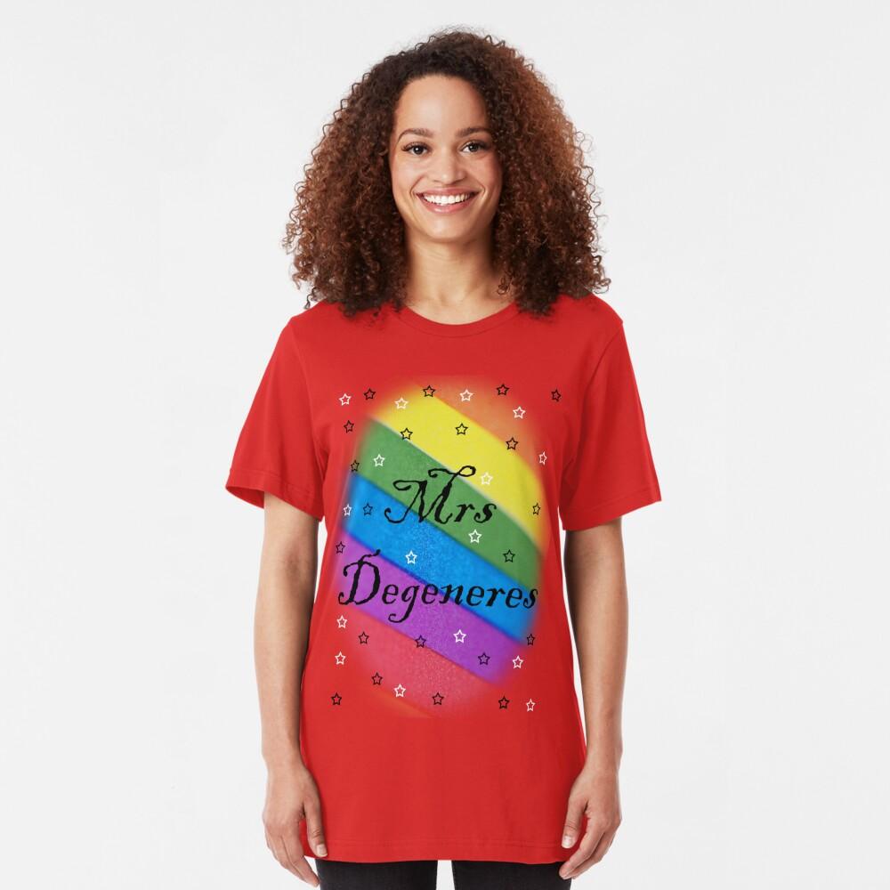 Mrs Degeneres - Lesbian Rainbow T-Shirt Slim Fit T-Shirt