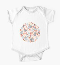 Fairy forest with raccoons and hares, silver fir trees, flowers and herbs. Short Sleeve Baby One-Piece