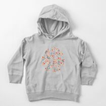 Fairy forest with raccoons and hares, silver fir trees, flowers and herbs. Toddler Pullover Hoodie