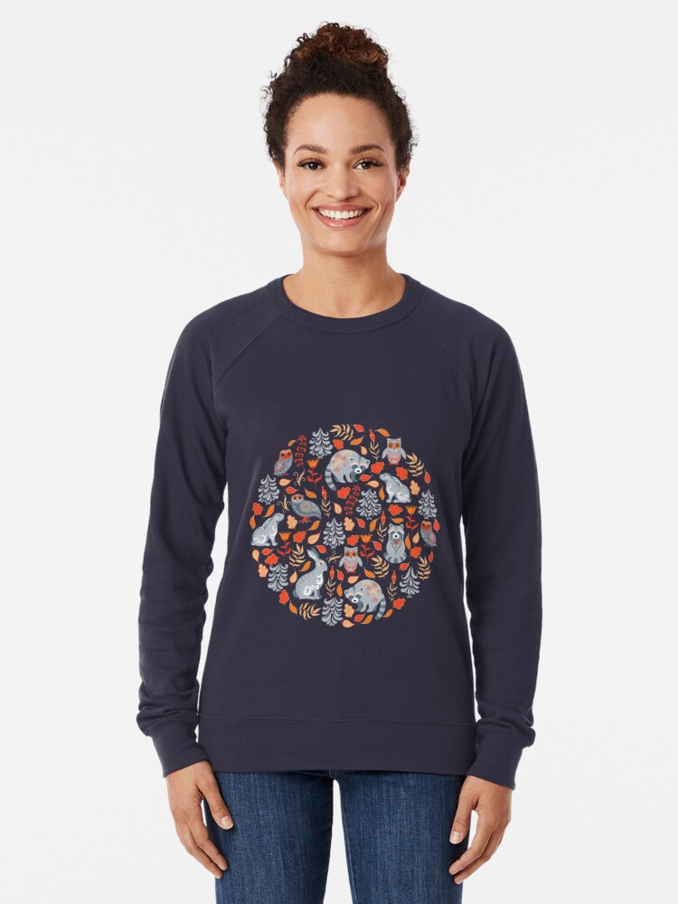 Alternate view of Fairy forest with raccoons and hares, silver fir trees, flowers and herbs. Lightweight Sweatshirt
