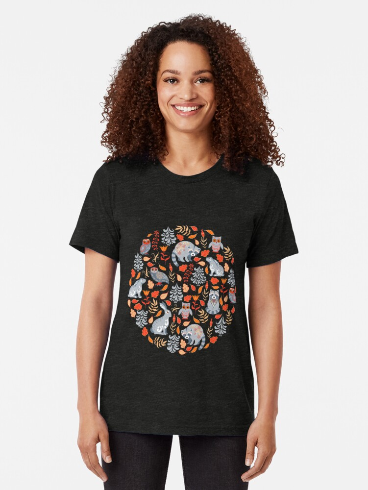 Alternate view of Fairy forest with raccoons and hares, silver fir trees, flowers and herbs. Tri-blend T-Shirt