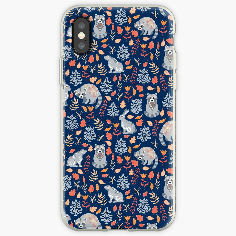 Fairy forest with raccoons and hares, silver fir trees, flowers and herbs. iPhone Cases & Covers