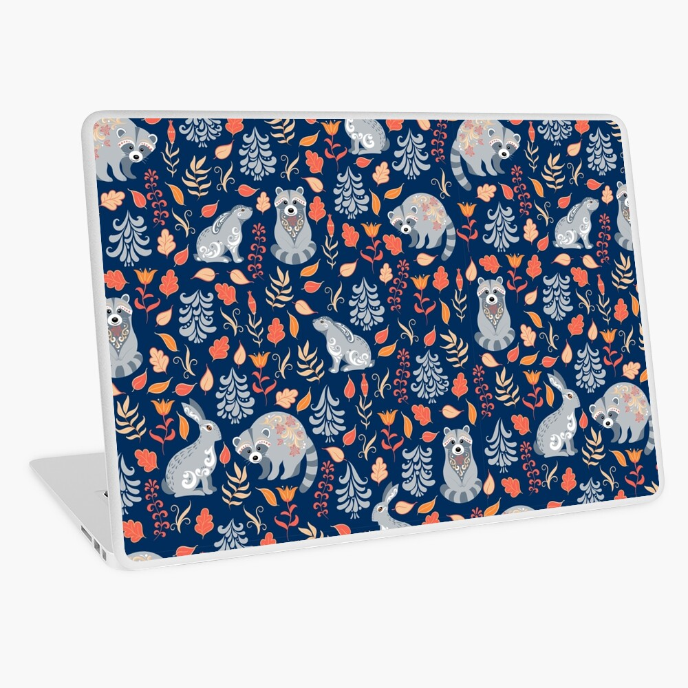 Fairy forest with raccoons and hares, silver fir trees, flowers and herbs. Laptop Skin