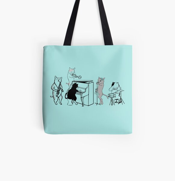 Cool Jazz Cats All Over Print Tote Bag