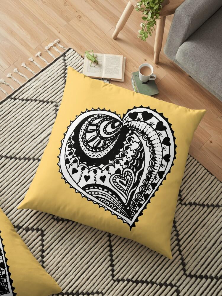 Valentine Heart Aussie Tangle Black & White  by Heatherian