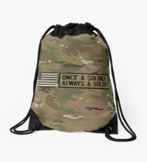 Once a Soldier, Always a Soldier (Camo) Drawstring Bag