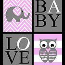 Love Baby Elephant and Owl by Shaina Haynes