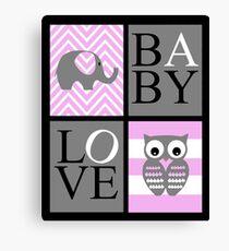Love Baby Elephant and Owl Canvas Print