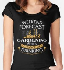 Weekend Forecast Gardening With A Chance Of Drinking Women's Fitted Scoop T-Shirt