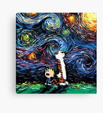Calvin and hobbes Starry Night van Gogh Canvas Print