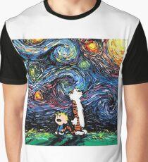 Calvin and hobbes Starry Night van Gogh Graphic T-Shirt